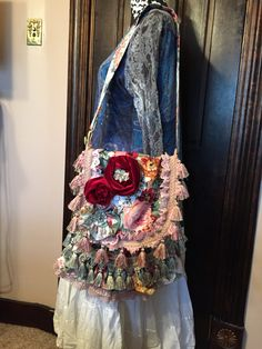 bohemian shoulder bag bohemian style purse shabby chic purse boutique display romantic Victorian bag large floral pattern red pink roses by TheDenimGypsy on Etsy