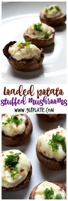 These stuffed mushrooms are like a loaded twice-baked potato in bite-sized form, the perfect gluten-free party appetizer to please a crowd. Vegan Appetizers, Appetizers For Party, Appetizer Recipes, Party Recipes, Party Snacks, Free Recipes, Easy Party Food, Party Food And Drinks, Bite Size Snacks