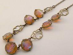 Antique  Czech Art Deco Dragon's Breath/Jelly Opal Glass/Saphiret Necklace