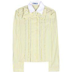 Prada Striped Cotton Shirt ($765) via Polyvore featuring tops, yellow, prada shirt, cotton shirts, striped shirt, stripe top and yellow top