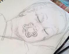 """Hurtigskitse"" - Må se at få tegnet hver dag! ""Fast drawing"" must practice every day! Www.anne-mette.com #skitse #hurtigskitse #quickdraw #child #tegning #drawing #blyantstegning #email #kunst@anne-mette.com #www.anne-mette.com"