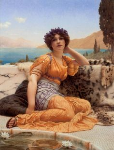 John William Godward August 1861 – 13 December An English painter from the end of the Pre-Raphaelite / Neo-Classicist era. He was a protégé of Sir Lawrence Alma-Tadema but his style of. John William Godward, John William Waterhouse, Lawrence Alma Tadema, Pre Raphaelite Paintings, Tableaux Vivants, Rome Antique, Classic Paintings, Classical Art, Oeuvre D'art