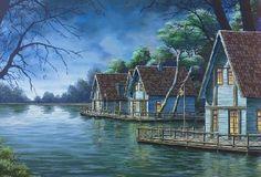 Efteling Bosrijk. Huysen aan het water.