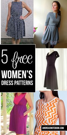 5 free women's dress patterns - Un vestido que va con tu estilo, ¿cuál harás? #Singer #original #yolohice