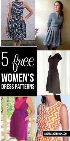 5 free women's dress patterns - Un vestido que va con tu estilo, ¿cuál harás? #Singer #original #yolohice