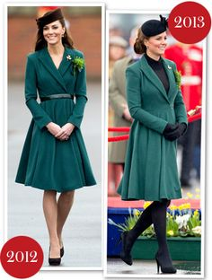rather than recycling the Emilia Wickstead coat-dress she's worn to the St. Patrick's Day parade the past two years (pictured above, middle and right), this year she chose a pine green, wool trench coat from Hobbs London. The Duchess accessorized her look with a forest-colored belt, emerald pumps, a gold Cartier shamrock brooch, a Gina Foster fascinator that had its first outing on Christmas day, and an oversized sprig of clovers. Talk about one festive look!