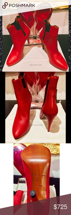 Balenciaga Sexy Red Leather Stileto Booties $845 Balenciaga Sexy Red Leather Stileto Booties  New in box  Comes with dust bag  Size 40.5  So soft, So sexy  These are a game changer😍 Balenciaga Shoes Heeled Boots