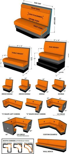11. Want to build a booth? Find out the right dimensions - 50 Amazingly Clever Cheat Sheets To Simplify Home Decorating Projects