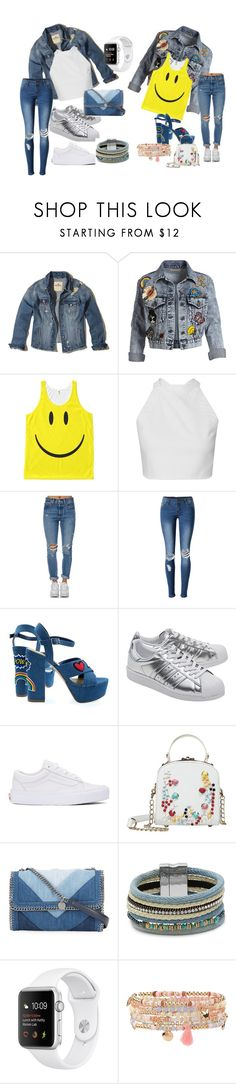 """Plain and Happy (Doing to Much outfit)"" by nadiepadie ❤ liked on Polyvore featuring beauty, Hollister Co., Alice + Olivia, Levi's, WithChic, adidas Originals, Vans, STELLA McCARTNEY, Design Lab and Accessorize"