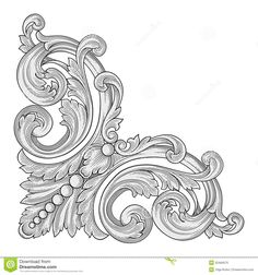 Illustration about Vector illustration of Decoration frame corner. Illustration of ornate, silhouette, symmetry - 32484070 Baroque Frame, Motif Baroque, Kranz Tattoo, Stencils, Ornament Drawing, Scroll Pattern, Carving Designs, Leather Pattern, Leather Tooling