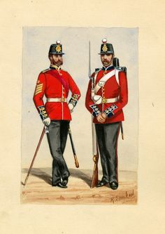 Regiment of Foot (Royal Scots), RSM & Private, by R. Military Uniforms, Military Art, Military History, British Army Uniform, British Uniforms, British History, Old West, Sailors, Napoleon