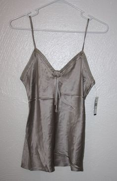 Josie Natori 100 Silk Cami Tank Top Camisole Purple Black Sz Small  d5dcad8c3
