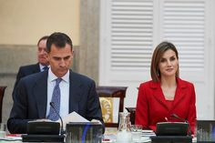 Queen Letizia of Spain and King Felipe VI of Spain attend the Cervantes Institute Annual Meeting at Royal Palace of El Pardo on October 19, 2015 in Madrid, Spain
