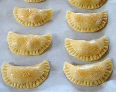 Easy recipe for sweet empanada dough - includes step by step photos. This sweet pastry dough for dessert empanadas can be made using a food processor. Köstliche Desserts, Delicious Desserts, Dessert Recipes, Sweet Empanada Dough Recipe, Recipe For Turnover Dough, Sweet Tart Dough Recipe, Dessert Empanadas Recipe, Pastry Dough Recipe, Snacks