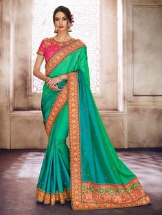 Green+Color+New+embroidery+Border+saree+Blouse+for+Indian+Women