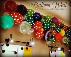 Parties: Balloon Wall. Decorate parties with a balloon wall. Easy, cheap and displays a whole wall of balloons--maybe not quite so multi colored but love it!