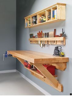 Wall mounted workbench woodsmith plans shop made tools wall mounted bench wall mounted workbench plans Carpentry Projects, Easy Woodworking Projects, Diy Wood Projects, Easy Projects, Woodworking Shop, Woodworking Plans, Project Ideas, Woodworking Furniture, Popular Woodworking