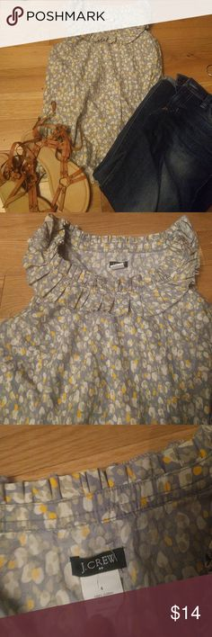 J.crew sleeveless blouse Cute grey and yellow sleeveless blouse. Nice ruffle detail around neck, perfect for spring. Nice business casual staple to add to your wardrobe. In great condition. J. Crew Tops Blouses