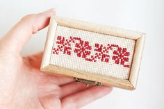 Wooden box for with handmade embroidery Folk by MissVintageWedding