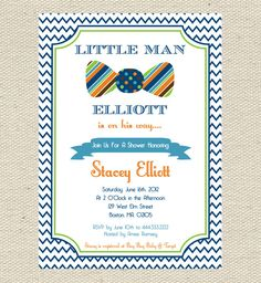 Little Man Baby Shower Invitation by GigglesandGraceDesig on Etsy, $9.00
