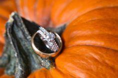 wedding bands on pumpkin