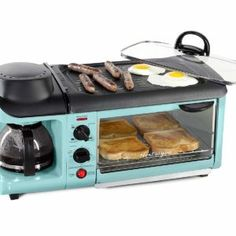Nostalgia Retro Family Size Breakfast Station – Aqua Blue - List for Home and Garden Products Mini Kitchen, Kitchen Dining, Aqua Kitchen, Dorm Kitchen, 50s Kitchen, Kitchen Small, Kitchen Furniture, Kitchen Interior, Furniture Sets