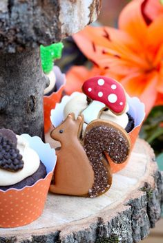 Woodland Theme Mini Cookie Cupcake Toppers