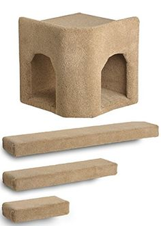 cat climbing shelves - Kitty Corner Hideaway 3 Ramps Cat Wall Climbing Package (Beige) >>> For more information, visit image link. (This is an affiliate link) Cat Climbing Shelves, Cat Wall Shelves, Shelf, Cat Ramp, Cat Activity, Cat Training Pads, Cat Playground, Cat Shedding, Super Cat