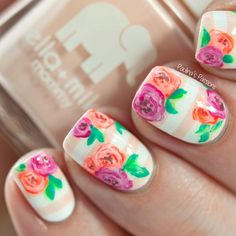 cool My Birthday Floral Nail Art - Paulina's Passions
