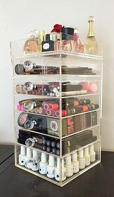 Nail polish or make up container.....  A must..www.etsy.com/listing/209226390/the-beauty-cube-clear-acrylic-makeup