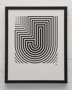 """J"" Print + Black & White"