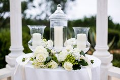 Beautiful Unity Candle Set, with Presentation Flowers for parents.  Agape Planning.com
