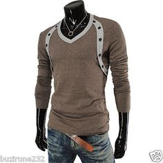 (VT06) THELEES Mens Casual Stylish Long Sleeve Button Point V-neck Tshirts