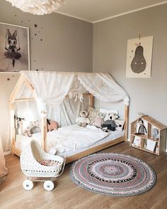 pastel girls room ideas, pink and grey girls room design