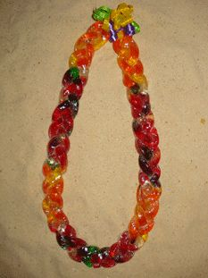 BRAIDED GUMMY WORM LEI. Order at www.BuyGraduationLeis.com. These Candy Leis make great Graduation Leis and Birthday Leis!