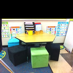 Ottomans for seating in literacy stations and an extra bonus. Cute Classroom Decorations, Classroom Bulletin Boards, Classroom Ideas, Classroom Organization, Organization Ideas, Literacy Stations, Ottomans, Teaching Kids, Room Inspiration