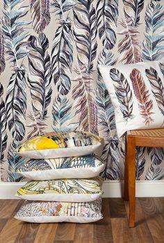 Surfacephilia Jaeger Wallpaper and Cushion. #pattern #decor #pillows