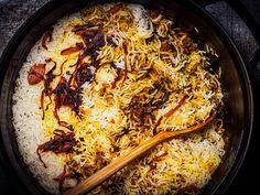 Lamb Biryani With Saffron, Yogurt, and Caramelized Onions Recipe | Serious Eats Caramelized Onions Recipe, Sandwiches, Thing 1, Serious Eats, Biryani, Garam Masala, Indian Food Recipes, Lamb Recipes, Cooking Time