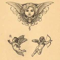 65 Adorable Cherub Tattoos Designs With Meanings Hi Here we have best wallpaper about 2 baby angels tattoo designs. We hope these ph. Tattoo Sketches, Tattoo Drawings, Baby Engel Tattoo, Cherub Tattoo Designs, Cupid Tattoo, Ange Tattoo, Angel Drawing, Baby Tattoos, Wing Tattoos