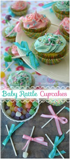 Baby Rattle Cupcakes, an easy and sweet ending for a baby shower! | homeiswheretheboatis.net #cupcake