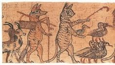 Egyptian cats doing unusual things, satyrical papyrus, 1150 BCE
