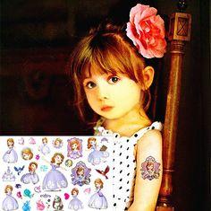 Sofya Prenses Çocuk Geçici Vücut Sanatı Oyuncaklar Seviyor, flaş Dövme Sticker 17*10 cm, su geçirmez Tatto Kına Dövme Duvar Tatouage