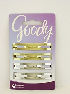 Goody Double Bar Metal Hair Barrettes  4 Pcs ** Continue to the product at the image link.(This is an Amazon affiliate link and I receive a commission for the sales)
