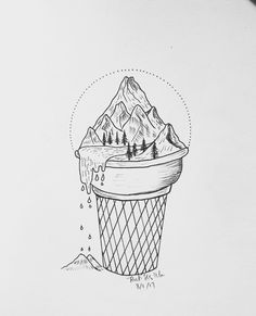 ice cream drawing drawings mountain pencil melted forest draw cool simple cabin folk easy mountains pen sketches tattoo want its