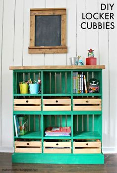 DIY locker cubbies made out of store-bought crates! So clever!