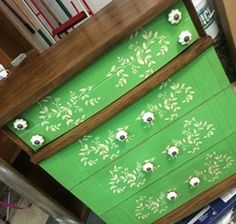 Chest of drawers with Chalk Paint® decorative paint by Annie Sloan in Antibes Green | Stencil with Old White | Project by Simply Shabby, LLC