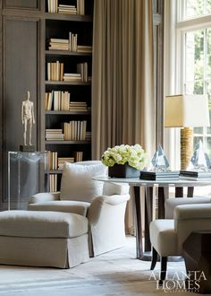 High Ceilings Millwork And Bookcases Interior