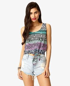 $11.80 Tribal Print Tie-Front Top | FOREVER21 - 2023570980