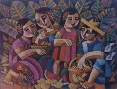 three sisters by crosshatchism Filipino Art, Filipino Culture, Philippine Art, Cubism Art, Contemporary Artwork, People Art, Global Art, Christen, Art Classroom