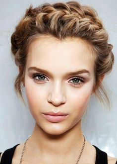 Braid you hair across your hairline to make an all-natural headband for added flair!